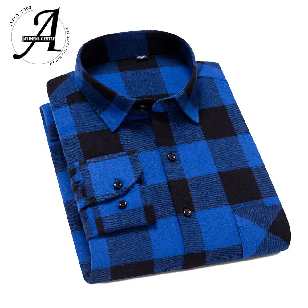 100% хлопок фланель рубашка Мужчины Slim Fit плед повседневные рубашки с длинным рукавом зимы Мужские рубашки 201012