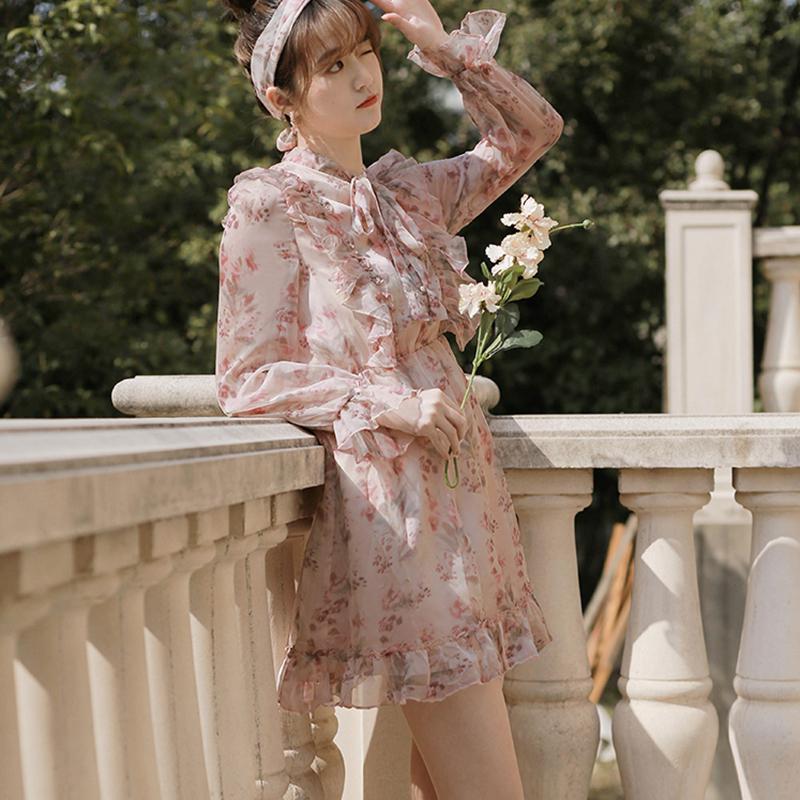Floral estampado arco dulce volante vestido boho gasa mujeres casual encaje encima elegante vestido botones niñas hadas de verano playa rosa vestido T200623