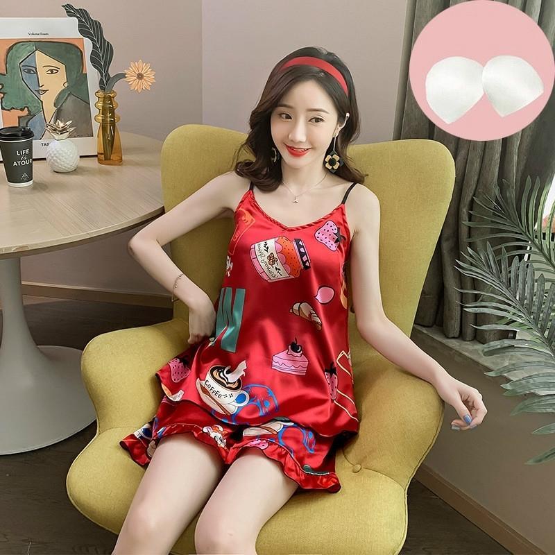 2020 Nuevas señoras Suspensores de verano Sin mangas Niñas Simulación Seda Sexy Pijamas Traje Servicio de Home Service Sleep Tops Tops