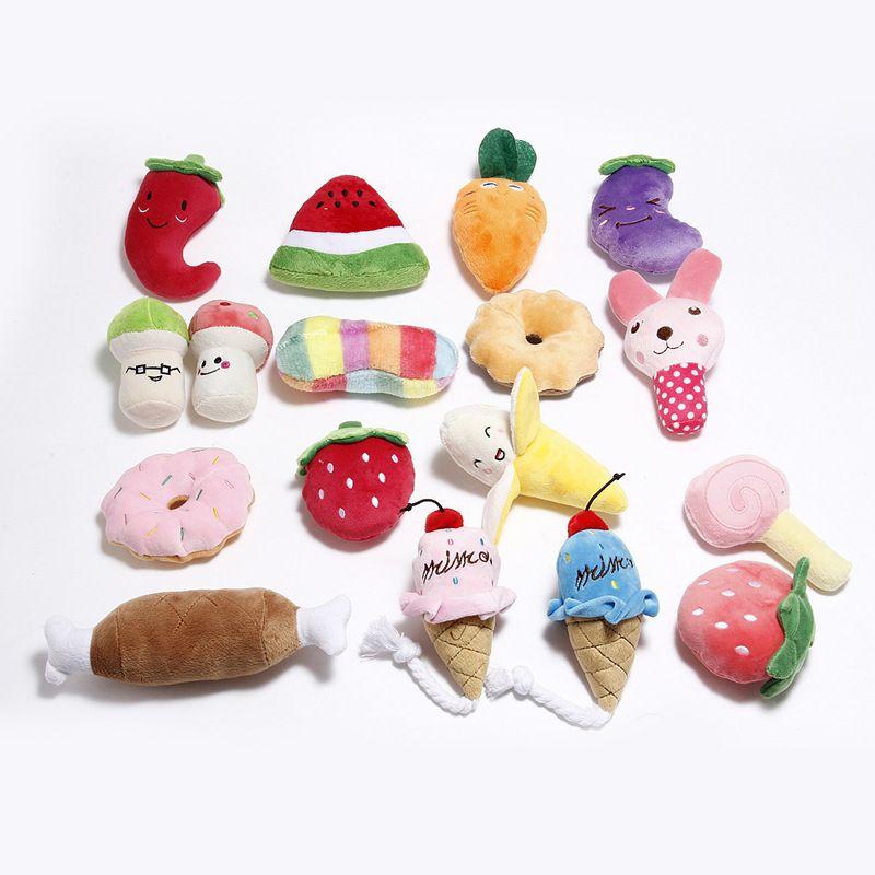 Haustierbedarf Plüsch quietschig Knochenhund Spielzeug Tiere Cartoon Welpen Training Spielzeug Weiche Banane Karotte und Gemüse