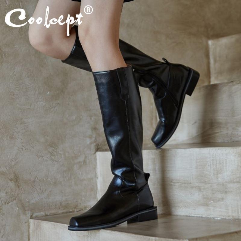 Coolcept de cuero real de las mujeres de la rodilla Botas Pisos Plaza del dedo del pie de la cremallera zapatos calientes Botas partido de las mujeres de moda de invierno Calzado tamaño 34-40