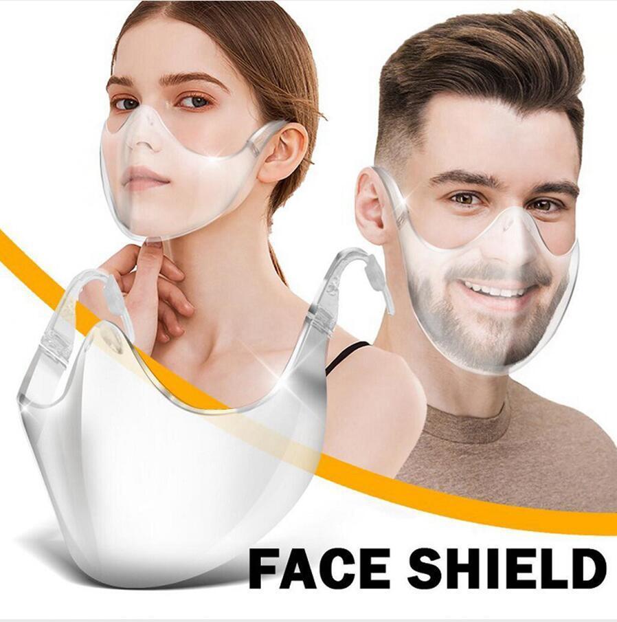 Transparente Máscara Protetora Escudo PC Anti respingo Isolamento cobrir a boca Unisex Outdoor Designer transparente Mar Máscara de envio DDA770