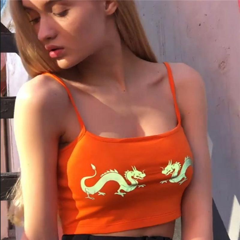 Камизолы Танкины Летние Мода Женщины Обрезанные Топы Китайский Дракон Светоотражающая Печать Без Рукавов Спин Сексуальный Сексуальный Камизол