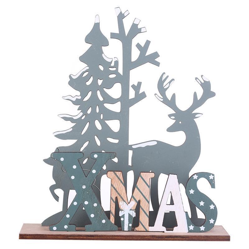 Elk Xmas Tree Pendants Hanging Wooden Christmas Ornaments Party DIY Decor Home Garden Decorative Supplies Tool 01