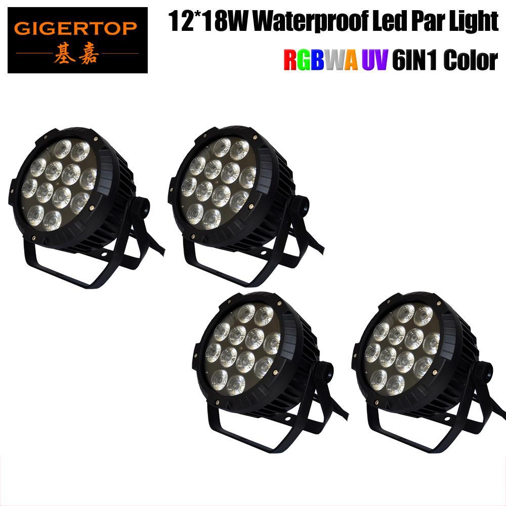 Freeshipping 4 Pack 12x18W RGBWA LED UV DJ PAR lumière DMX IP65 étanche PAR 64 Etape éclairage écran LCD de fonte d'aluminium