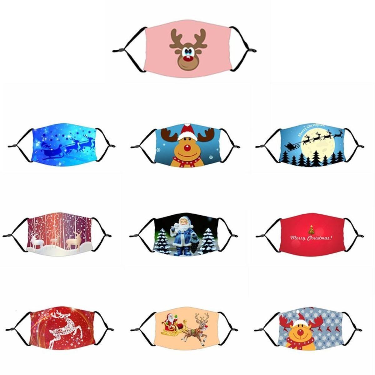 мода маски для лица многоразовых взрослых Дети 3d печати Санта-Клаус весело Защитное Рождество Рот маски Марк Ткани маски для лица