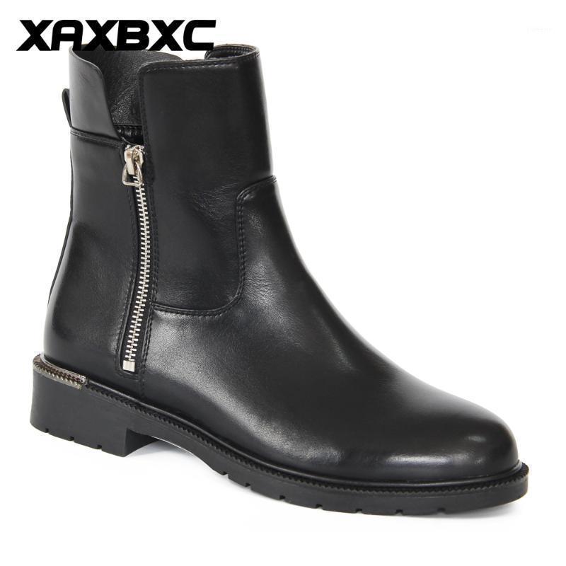 XAXBXC 2020 rétro hiver britannique noire moto botte zip talon bas bottines courtes bottines chaudes femmes bottes à la main chaussures de sport à la main1