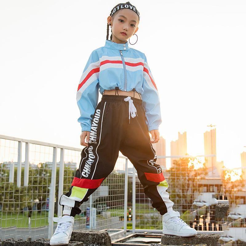 Hip Hop costumes de danse à manches longues Veste Pantalon noir Rue Scène Vêtements Danse Enfant Tenues Jazz Performance Porter des DN2785