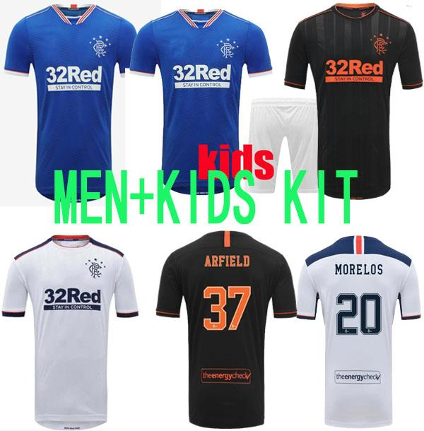 20 21 Neue Glasgow Rangers FC Soccer Jerseys Rangers Ausrüstung Fußball Hemd Männer Kinder Kits 2020 2021 Uniform Tops Anzug MAILLOT DE FOOT