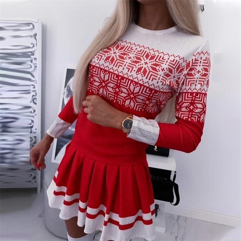 Moda Otoño Invierno Suéteres Vestido Cuello redondo Impresión de Navidad Tejido Cálido Manga Larga Punto Flojo Jersey Dresses D30 201204