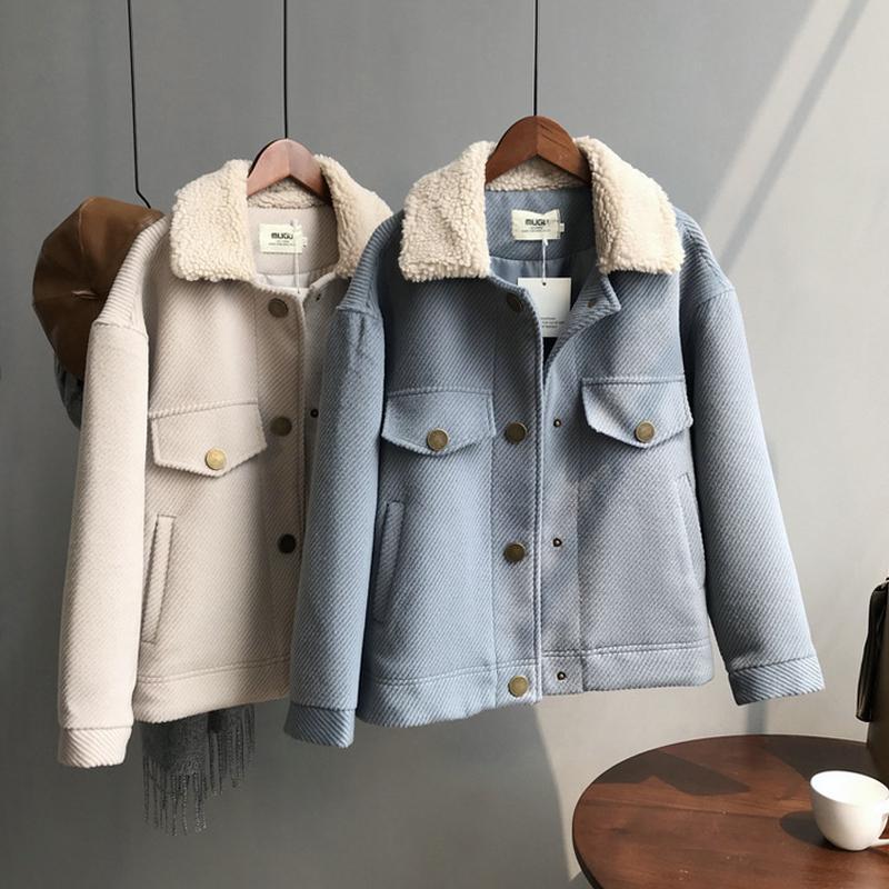 Versão coreana do casaco de jaqueta de pelúcia de cordeiro inverno novo casaco grossa mulheres casaco de lã curto 201015