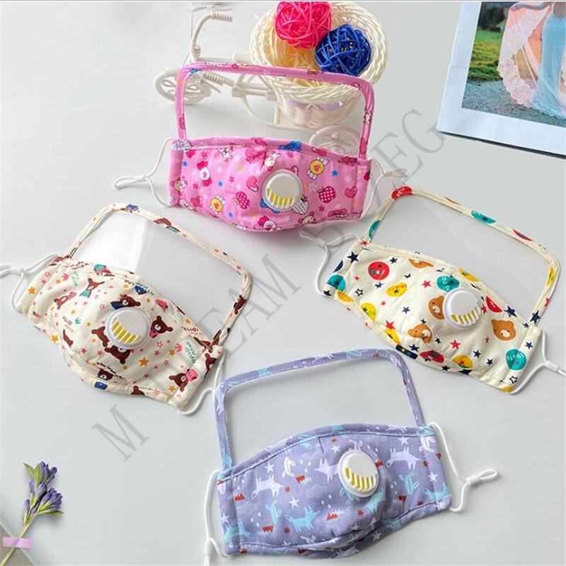 Cute kids face masks with breathing valve and transparent eye shield children face mask anti dust fog fashion mouth mask face shield KKF2331