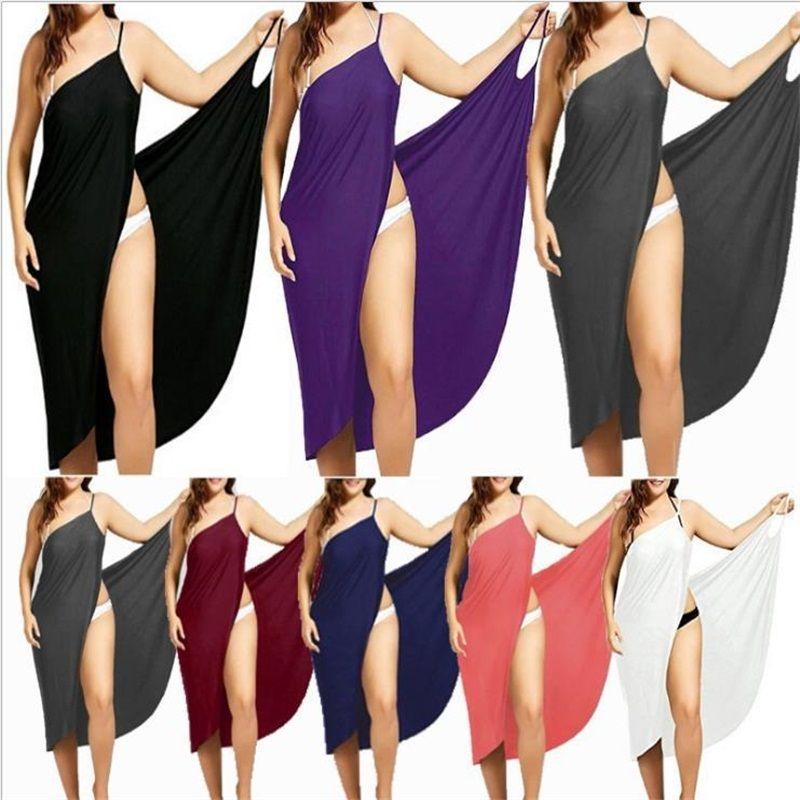 Sling Suit Skirt Splicing Solid Summer Sandy Beach Beach Gonne Sexy Lady Multi Color Dress Long Abito piacevolmente Cool Semplicità 15 5yxa P2