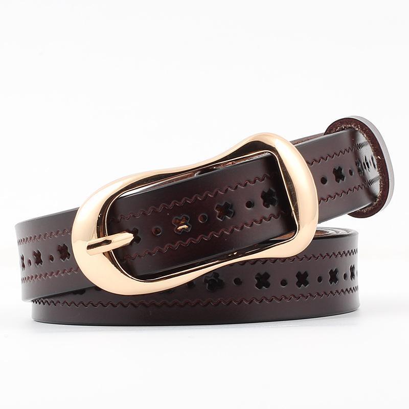 Belt Moda Noble ouro Pin Buckle macio o couro genuíno de New Couro Mulheres por Mulheres Jeans Dresss Luxo Strap Shorts