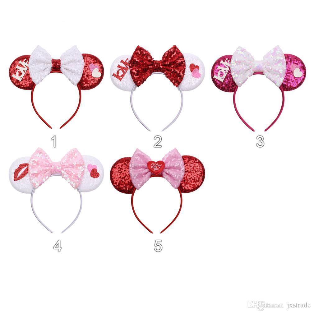 Neuer Stil Valentinstag Dekorationen Pailletten großen Bogen Stirnband Haarzusätze, Erwachsene Kinder Mausohr Modellierung Hoop, Haar-Sticks