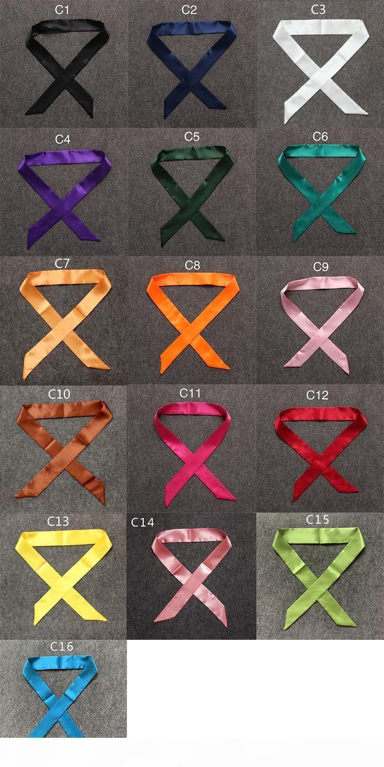 Mode Massive Seide Tasche Schal Frauen Kleine Schal Ribbon Handtasche Haar Lange Schal Bandana Kopf Schal