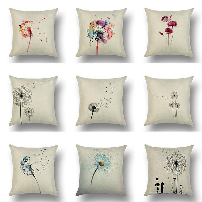 Dandelion Flowers Flying Seeds Cushion Cover Nordic Simple Design Modern Fashion Linen Decorative Pillows Cover Sofa Pillowcase
