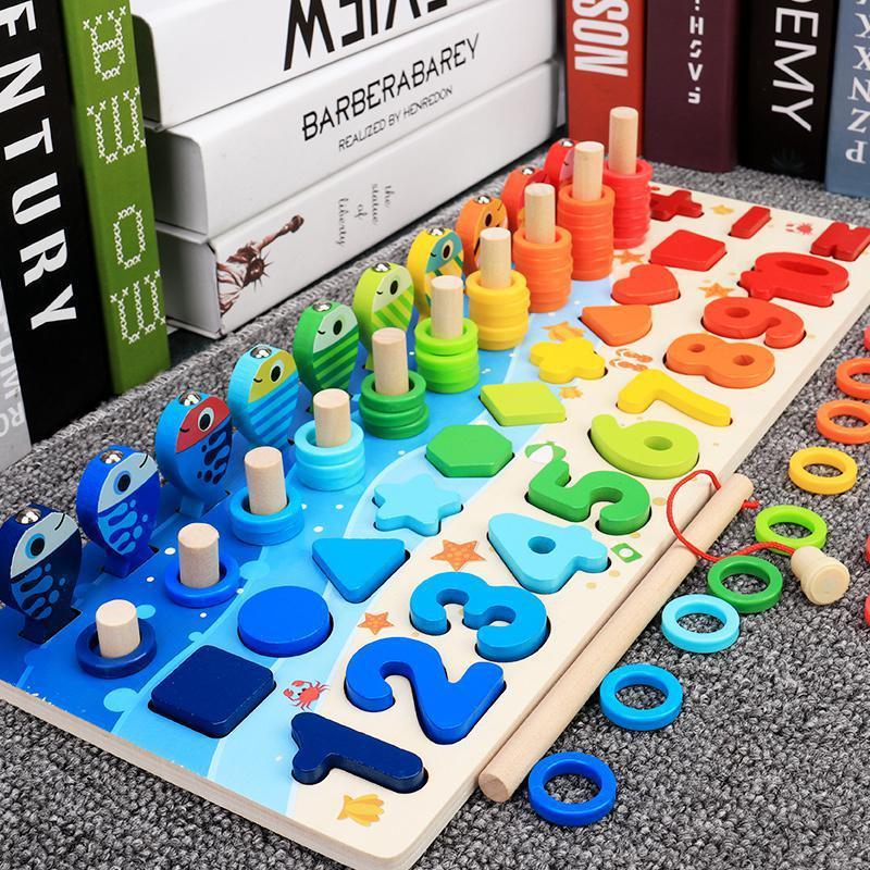 Montessori Pädagogische Holzspielzeug für Kinderbrett Mathematische Fischereizählung Nummern, die passende digitale Form-Match-Match-Spiel-Spielzeug