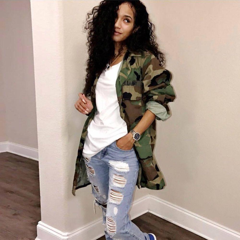 2019 Art und Weise Frauen lösen Camouflage-Mantel-Turn-Down-Kragen-Taschen-langes Hülsen-Knopf oben beiläufigen Armee-Grün Militär Outwear Jacke
