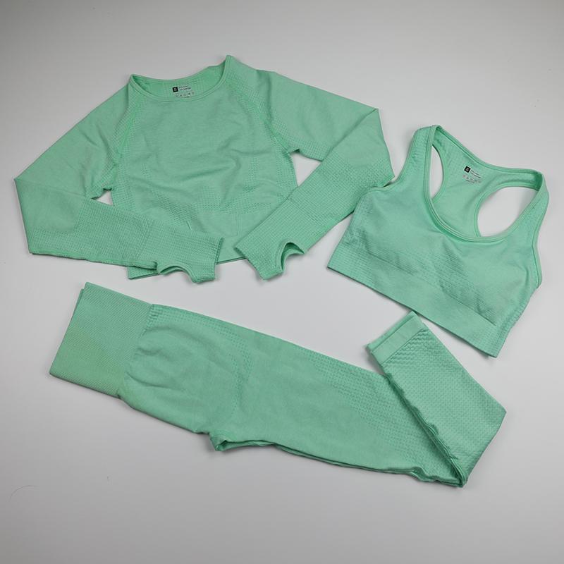 Mujeres inconsútiles conjunto de yoga Fitness Sports Trajes de manga larga de Yoga Camisetas de manga larga de alta cintura para correr Leggings Entrenamiento Sujetador Top Gimnasio Ropa 201105