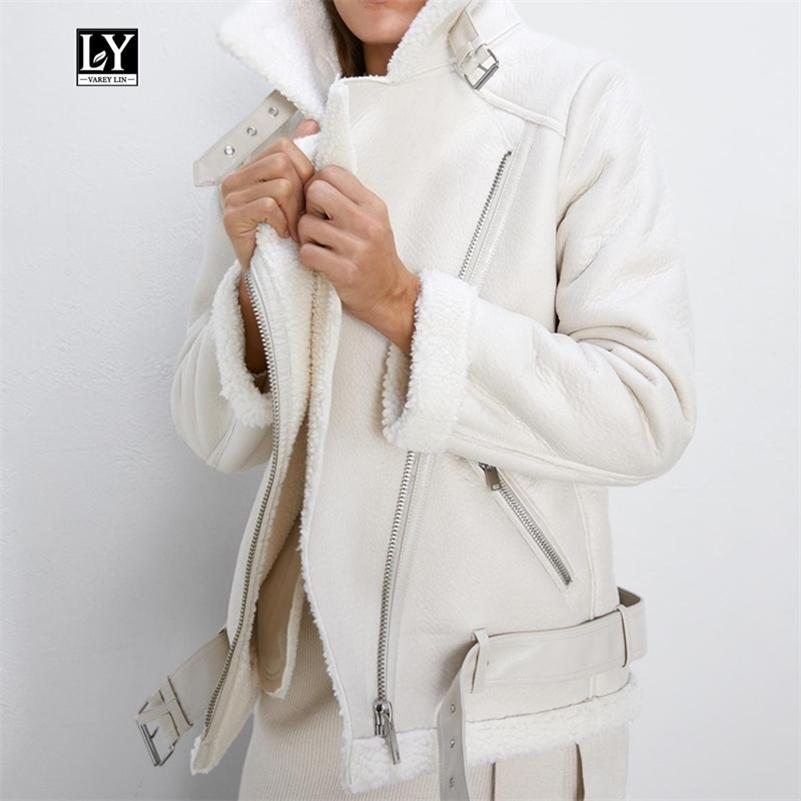 Ly Varey Lin Kış Kuzu Kadınlar Sahte Deri Kuzular Yün Kürk Yaka Pu Moto Fermuar Ceket Sıcak Kalın Dış Giyim Y201012
