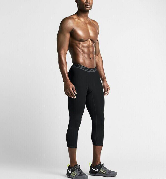 2021 Nova compressão 3/4 Pants aptidão Quick Dry Correndo Pants Men Sports Leggings Pant para a execução de correr Gym Leggings S-2XL