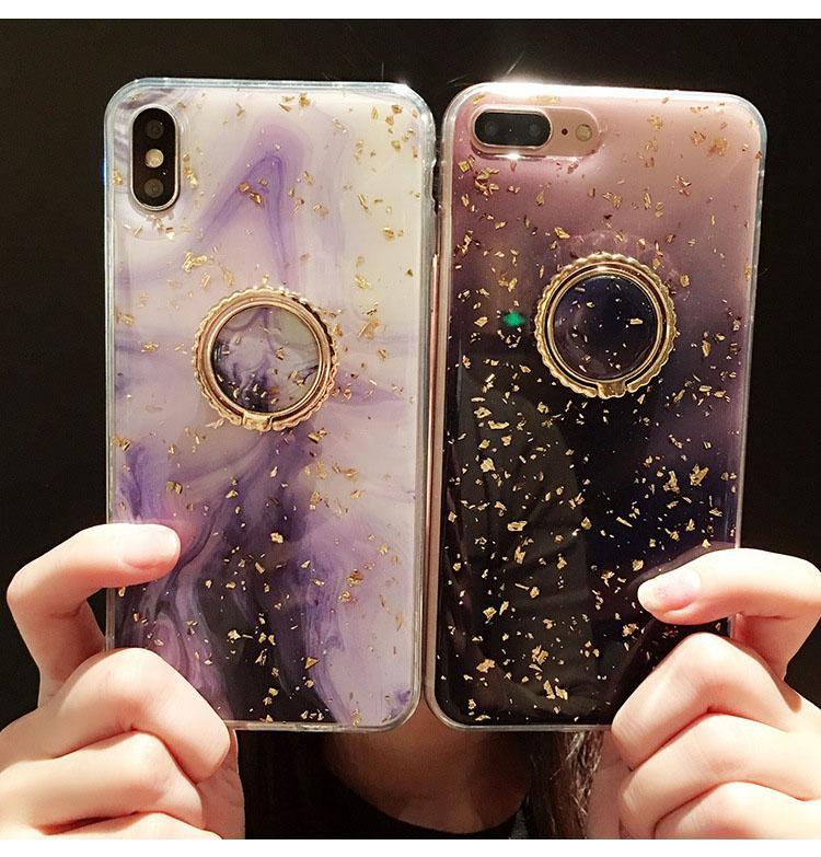 Cassa del telefono dell'oro foglia per iPhone 12 Mini XR XS Max x 11 Pro Max Cover Marble Grip Stand Supporto Funda Glossy Coque