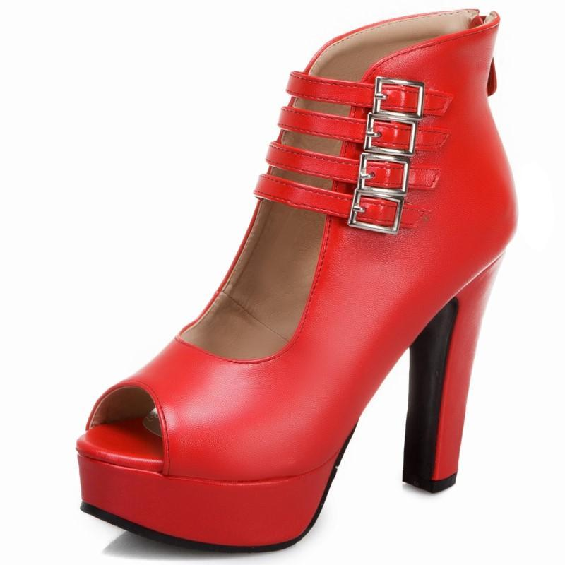 Sandali Womens Gladiatore Chunky High Head Fibbia Cinturino Piattaforma Strap Shoes Donna Donna Black Open Toe Footwear Dimensioni 10