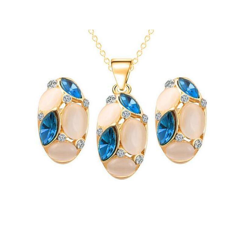 Кластерные серьги для серьги для подвеска ожерелье для свадебных ювелирных изделий Комплекты Opal Crystalps2574