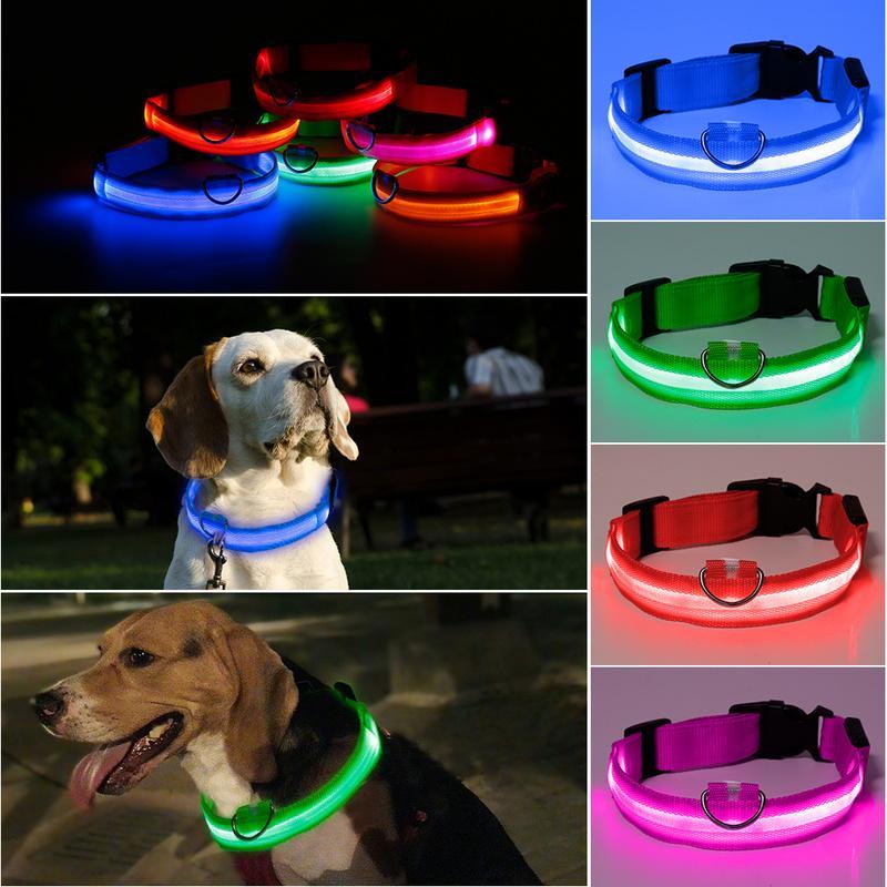 قابل للتعديل الحيوانات الأليفة نايلون LED تضيء مقود الكلب الياقة اللوازم ليلة سلامة العلامة التجارية اللمعان الوهج الكلب الياقات الحيوانات الأليفة في الظلام