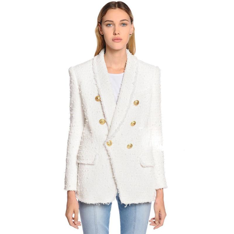 HIGH QUALITY Newest Fashion Designer Blazer Women's Shawl Collar Double Breasted Lion Buttons Tassel Tweed Jacket Over Coat 201114