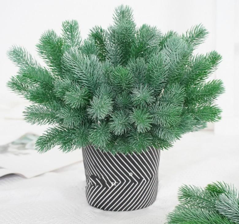 Falso pino del árbol de navidad Aguja artificial rama de la flor de la decoración DIY accesorios ramo regalo Plant