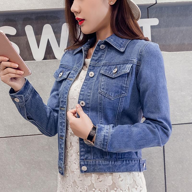 2020 Moda Kot Ceket Kadın Bahar 2XL XL İlkbahar Sonbahar El Fırça Uzun Kollu Streç Kısa Denim Ceket Beyaz Pembe Mont C1105