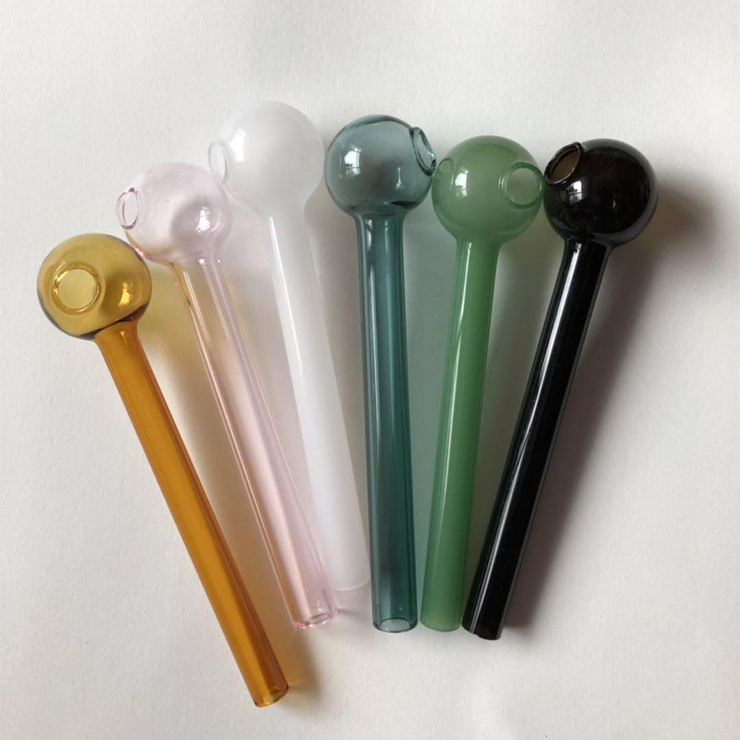 10cm más barato colorido pyrex vidrio aceite quemador de aceite tubo de cristal tubo de fumar tubos de tobascco hierba de vidrio aceite de uñas