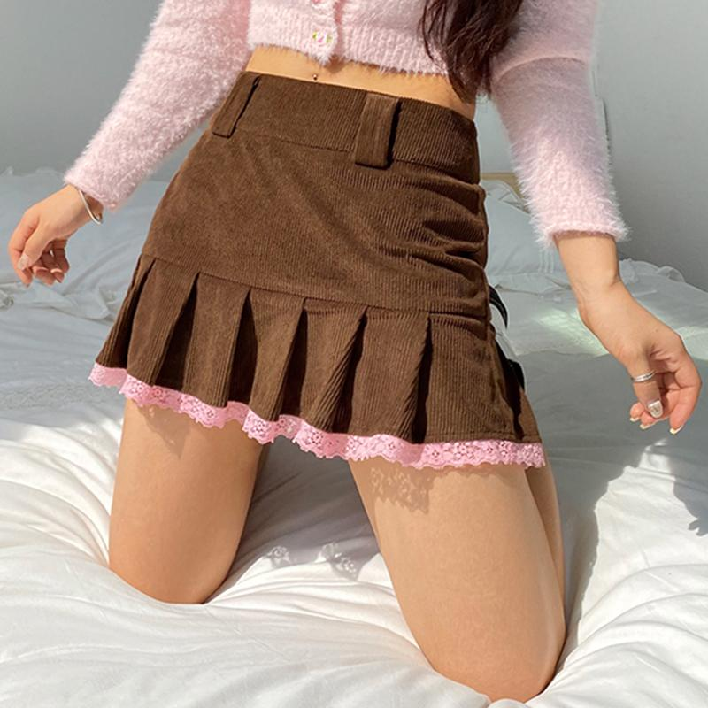 Vintage Brown Corduroy High Waisted E Girl Pleated Skirts Women 90s Y2k Aesthetic Girl Mini Skirt Lace Patched Kawaii Clothes Y1214