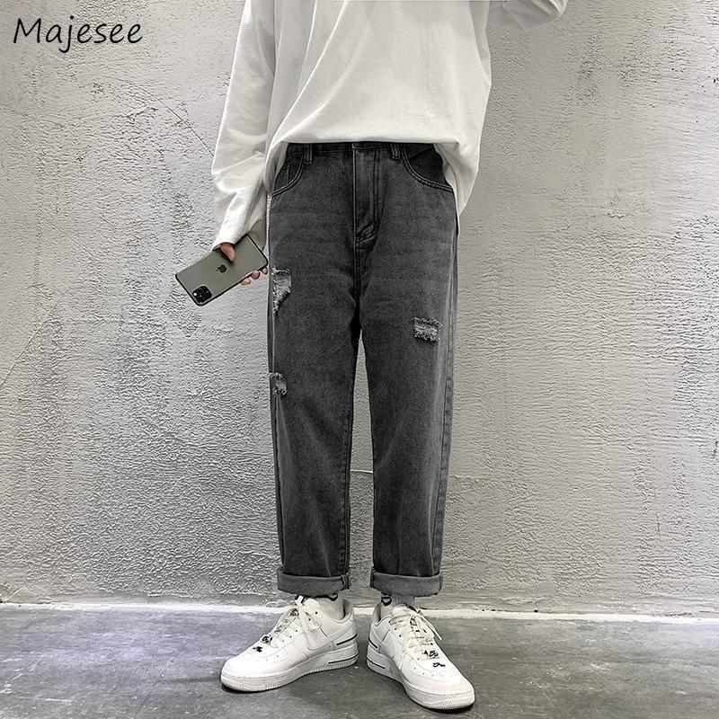 Мужские джинсы джинсовые джинсовые твердые отверстие прямо свободно плюс размер 3XL студента Уличная одежда ежедневная универсальная ультра модный стиль моды модный