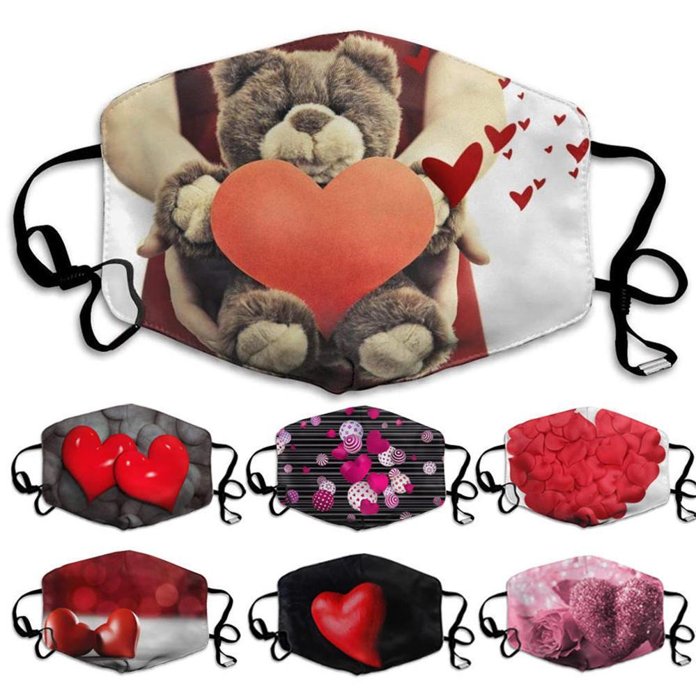 Valentinstag Geschenk Gesichtsmaske Valentinstag Masken für Jungen Mädchen Paar Staubdichte Masken gewaschen Pfirsich Herz Liebe Gesichtsmaske Männer Frauen