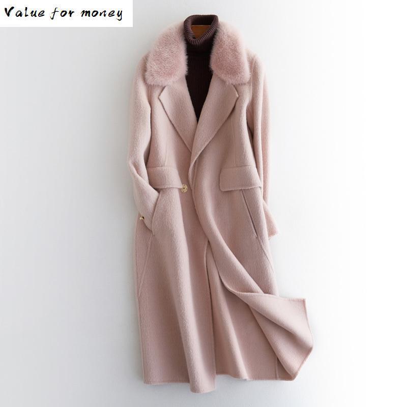 Cappotto di pelliccia di visone di pelliccia Cappotto di pelliccia del 20% alpaca 80% giacca di lana autunno cappotto invernale vestiti donna 2021 coreano streetwear top zt3152