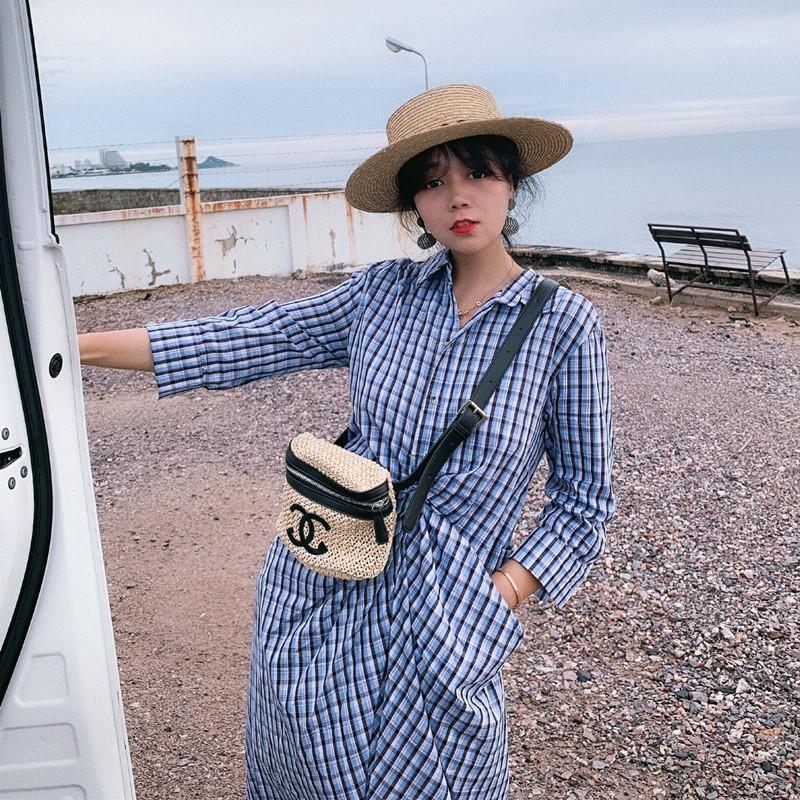 Miss Chen temporada pequena camisa vestido interior vestido azul camisa de xadrez 07111