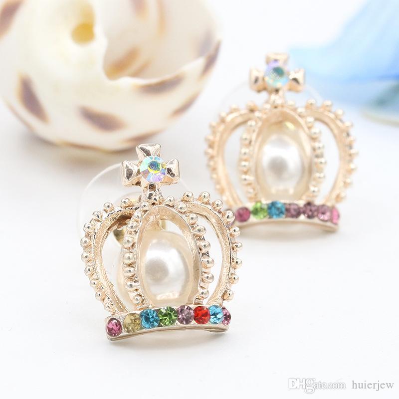 여성 브랜드 뉴 크라운 크로스 다채로운 모조 다이아몬드 가짜 진주 귀 스터드 귀걸이를 들어 예쁜 귀걸이