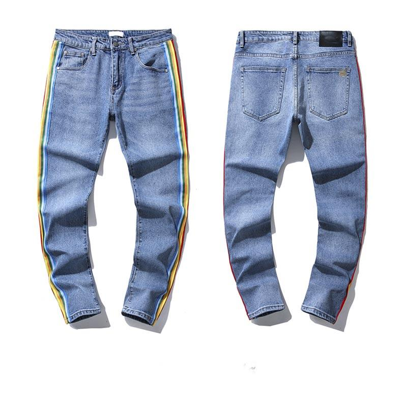 2021 Hombres Skinny Jeans Fashion Stretch Denim Pants Pantalones de mezclilla Distentados Freyed Freyed Slim Fit Jeans Slim Fit Hombres Cintura elástica Hom