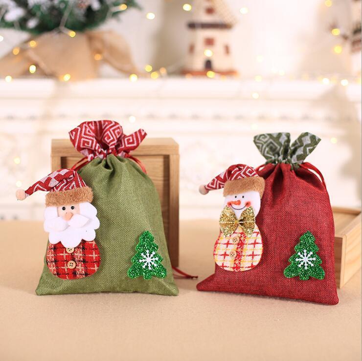 Sacs créatifs Décoration de Noël cadeaux Jute enfants Faisceau d'Apple Sac Candy Bag biscuits de Noël sac-cadeau