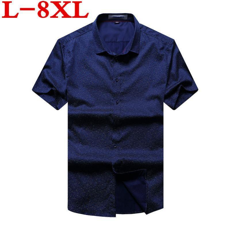 Camicie casual da uomo Big Size 8XL 6XL 5XL 4XL Camicia da uomo Manica corta Estate di alta qualità Moda stampata Abito da maschio Abito da marca
