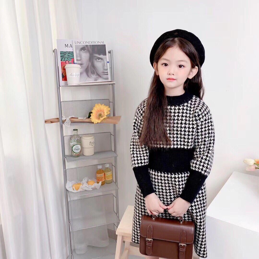 Toddler Kids Baby Girls Solid Tops Knit Crochet Sweater Dress Clothes Cute Solid Long Sleeve Baby Girl Dress Winter 2020