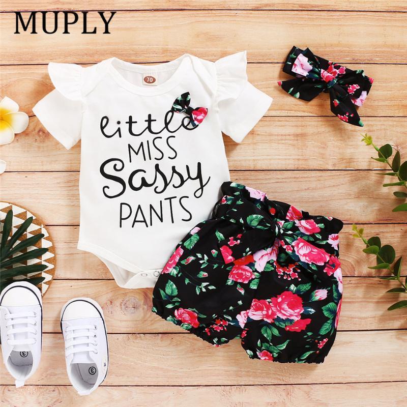 مجموعات الملابس 2021 أزياء الفتيات ملابس الصيف طفل أطفال طفلة إلكتروني مطبوعة القمصان + الزهور التنانير ملابس وأغطية الرأس 3 قطع مجموعة