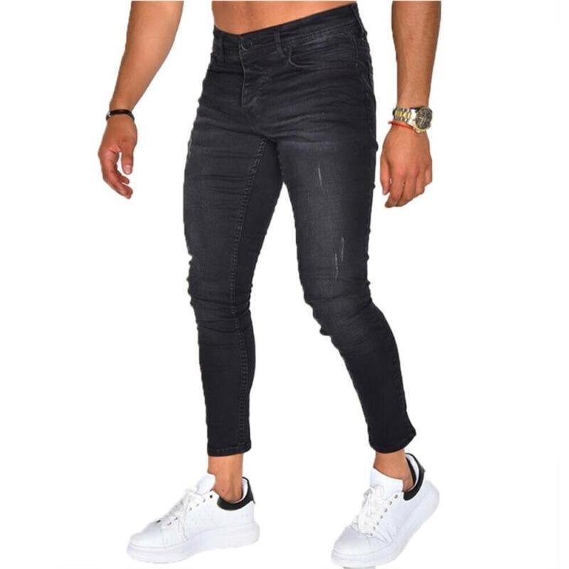 جينز الرجال الرجال ساخرة سراويل أزياء زائد الحجم أسود عارضة تمتد يتأهل الدنيم السراويل الشارع الشهير الرجال
