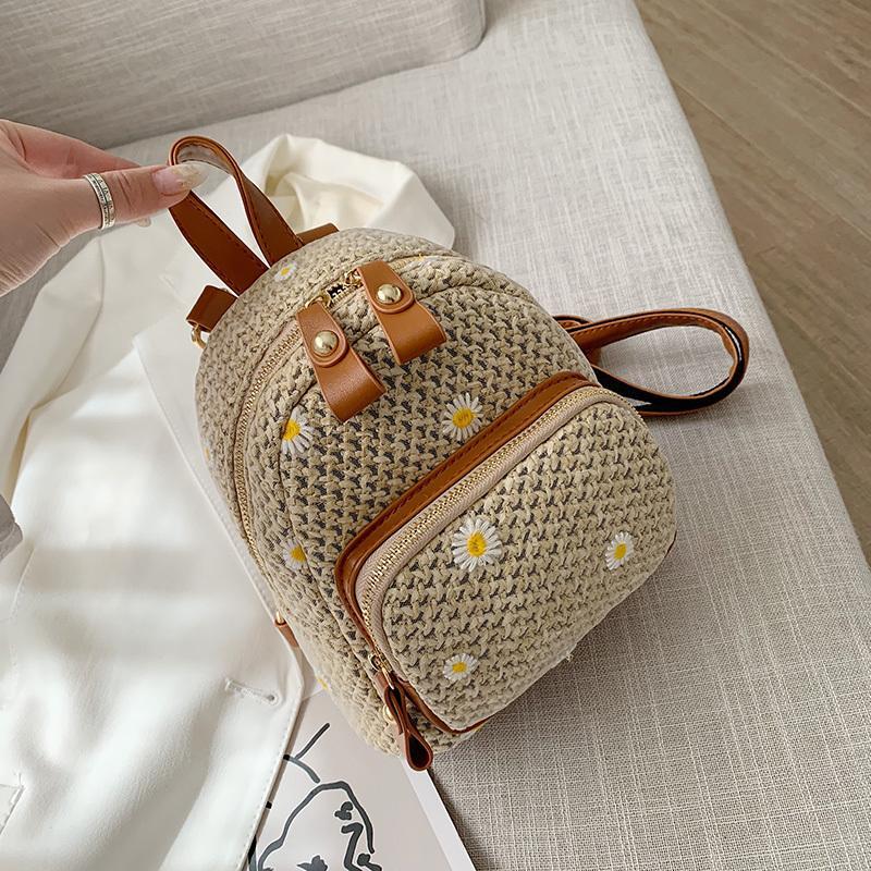 случайные соломы женщины рюкзаки богемной плетеной тканой сумки лето пляж ротанг Кошельки мини рюкзак для девочек женской сумки 2020 C1017