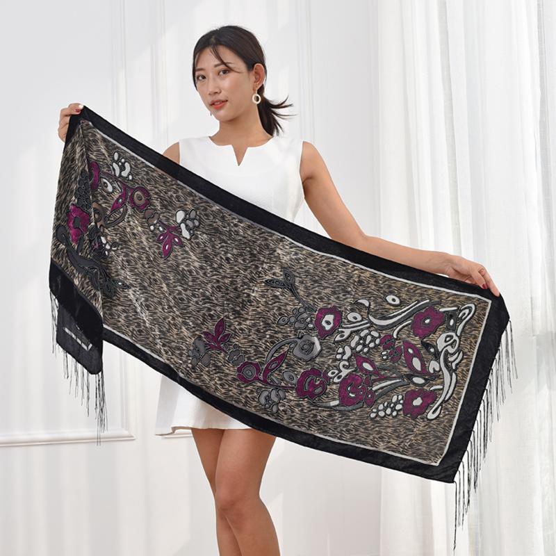 Новые зимние шарфы женские моды леопарда флоральные бархатные швальские обертывания женщины роскошь вечерняя вечеринка пашмина подарок для любителей мамы