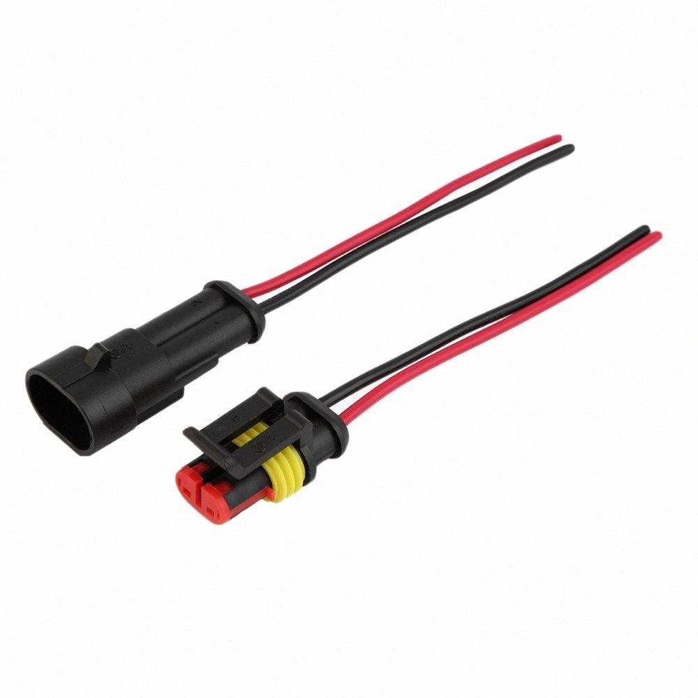Al por mayor-5 Kit de 2 Pin vías del coche a prueba de agua Conector eléctrico con alambre AWG # marina hJ1A