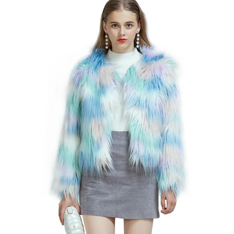 Luxus blau Kunst Jacke Ice Cream Macarons Farbe Imitation Pelz-Mantel mit hohen Taille Langen Plüsch Cardigan Beflockung Bomber